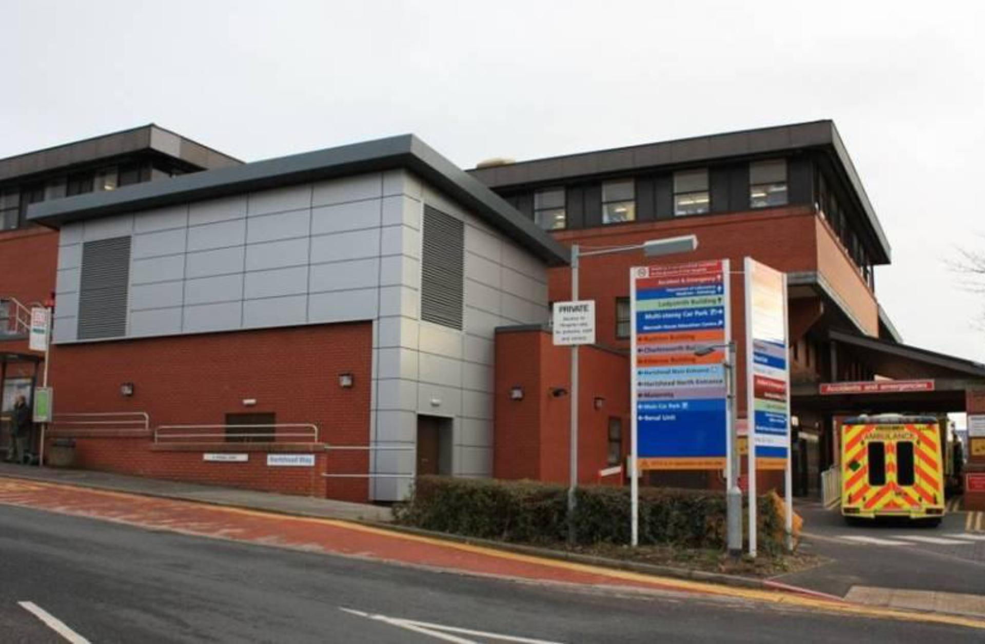exterior of Tameside General Hospital